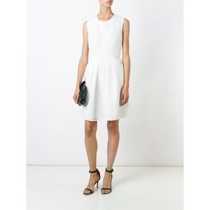 Burberry NWT White Sculpted Mesh Fit Flare Dress 6
